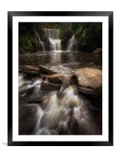 Penllergare Woods waterfall, Framed Mounted Print