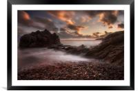 Sunset on Rotherslade Bay, Framed Mounted Print