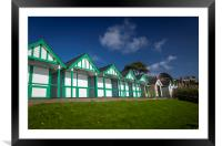 Beach chalets in Swansea, Framed Mounted Print