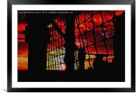 Sunset through the Rigging , Framed Mounted Print