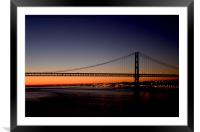 The 25th of April Bridge from a cruise ship by nig, Framed Mounted Print