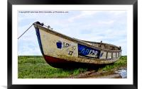 A Colourful boat lies on Heswall Beach, Framed Mounted Print