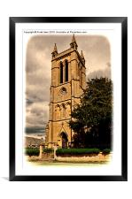 St Michaels & All Angels church, Broadway-Grunged, Framed Mounted Print