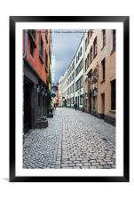 A side street in Cologne, Framed Mounted Print