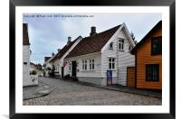 Stavanger - part of the old town, Framed Mounted Print