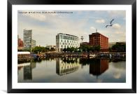 Liverpool across Salthouse Dock, Framed Mounted Print