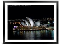 Sydney Opera House by Night, Framed Mounted Print