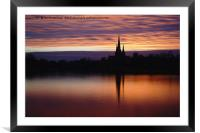 Sunset Reflection At The Lichfield Cathedral, Framed Mounted Print