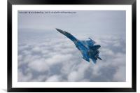 SU-27 Flanker Above The Clouds, Framed Mounted Print