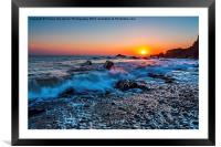Breakers At Sunset, Framed Mounted Print