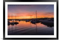 Reflections in Torquay Marina., Framed Mounted Print