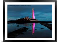 St Marys Lighthouse, Pretty in Pink, Framed Mounted Print