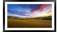 Sunset on Poppy Field in Kent, Framed Mounted Print
