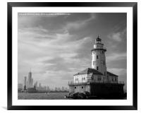 Chicago skyline and lighthouse from Lake Michigan, Framed Mounted Print