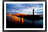 Whitby harbour by night, Framed Mounted Print