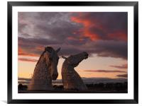 The Kelpies at sunset, Framed Mounted Print