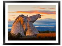 Sunset at the Kelpies., Framed Mounted Print