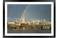 Rainbow over St Paul's Cathedral, London, Framed Mounted Print