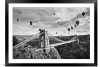 Bristol Balloon Fiesta (black and white), Framed Mounted Print