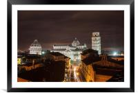 Leaning Tower of Pisa at night, Framed Mounted Print