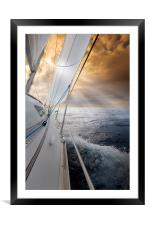 Sailing towards the sunset, Framed Mounted Print