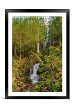 Burgbach Waterfall, Black Forest, Germany, Framed Mounted Print