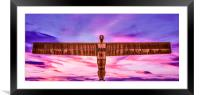 Sunset with the Angel of the North, Framed Mounted Print
