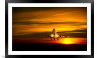 Landing at sunset, Framed Mounted Print