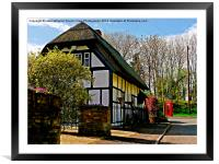 English Cottage & Red Telephone Box, Framed Mounted Print