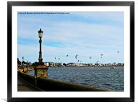 Kite Surfing at Poole Harbour., Framed Mounted Print