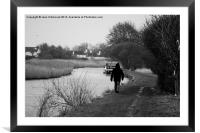 A Walk By the Canal, Framed Mounted Print