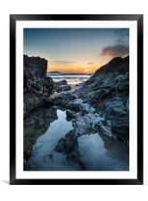 Lusty Glaze Beach at Newquay in Cornwall, Framed Mounted Print