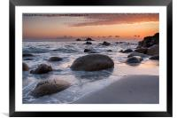 Sunset on a Cornish Beach, Framed Mounted Print