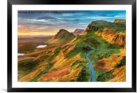 Beautiful sunrise sky over rock formations on the , Framed Mounted Print