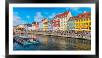 Copenhagen Nyhavn District with River Bus, Framed Mounted Print