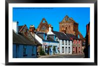Quaint Village with Abbey Ruins, Framed Mounted Print
