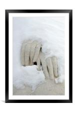 Snow covered hands of a statue, Framed Mounted Print