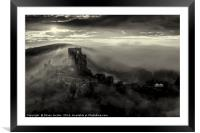 Corfe castle in the mist , Framed Mounted Print