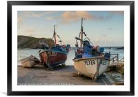 Fishing boats on Lulworth cove , Framed Mounted Print