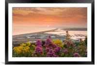 Chesil Beach sunset , Framed Mounted Print