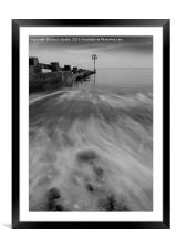 Wave surge in Swanage , Framed Mounted Print