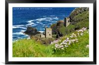 Crowns Mine at Botallack ex-tin mine in Cornwall, , Framed Mounted Print