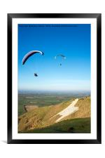 Paragliders, Westbury White Horse, Wiltshire, UK, Framed Mounted Print