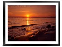 Sunset over Cardigan Bay Wales, Framed Mounted Print