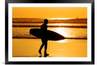 sunset surfing cornwall, Framed Mounted Print