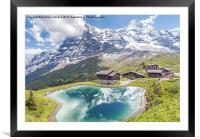 Eiger and Reflection in Alpine Lake, Framed Mounted Print