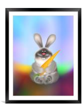 Rabbit With Carrot Easter Bunny, Framed Mounted Print