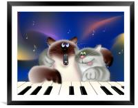 Singing Cats Playing Piano, Framed Mounted Print