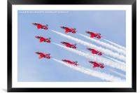 Red Arrows diamond nine at RIAT, Framed Mounted Print