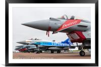 Seven Typhoons lined up on the static park, Framed Mounted Print